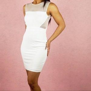 BEBE White Mesh Cutouts Sleeveless Mini Dress